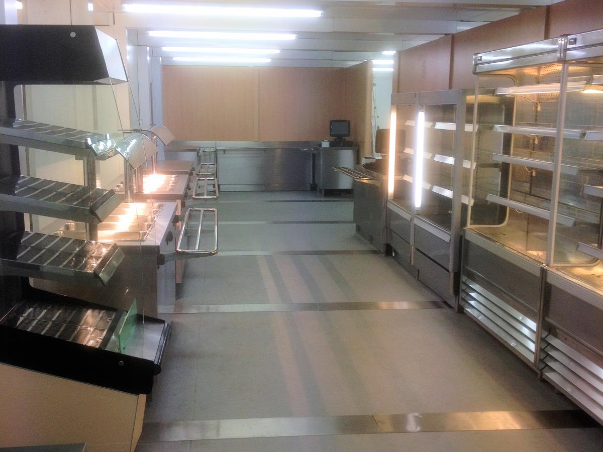 Servery area of a purpose built university refectory for the University of West London.